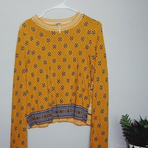 Free People Yellow Printed Cropped Sweater